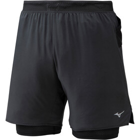 Mizuno ER 7.5 2-in-1 Shorts Heren, black